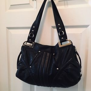 B. Makowsky Leather Hobo Purse - Blk/Cheetah Lined